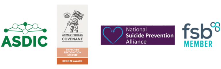 Logos of ASDIC, Armed Forces Covenant, NAtional Suicide Prevention Alliance and FSB
